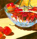 A Bowl of Cherries Plus 3 - watercolor, © Zola Jean 2014